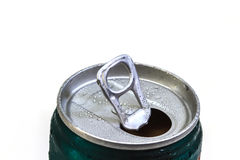 Closeup shot from the pull ring on a beverage can Royalty Free Stock Photo