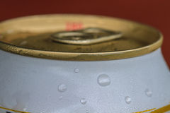 Closeup shot from the pull ring on a beverage can Royalty Free Stock Images