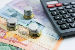 Closeup shot of Ringgit Malaysia. Banknotes with calculator Stock Image