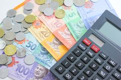 Closeup shot of Ringgit Malaysia. Banknotes and calculator Royalty Free Stock Image