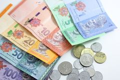 Closeup shot of Ringgit Malaysia. Banknotes and coins Royalty Free Stock Image