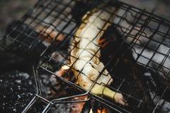 Roasted banana at the stake. Closeup shot of roast banana at the stake stock images