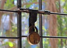 Close-up of a rusted lock and latch Royalty Free Stock Images