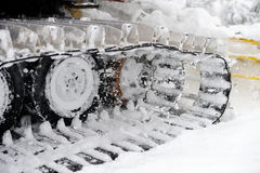 Closeup shot of snowplow used stock photography