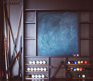 Closeup shot of stand with billiard equipment Royalty Free Stock Images