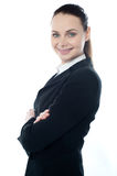 Closeup shot of successful businesswoman. Posing with crossed arms Stock Images
