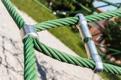 A closeup shot of two ropes tied with metal joiners Stock Photo