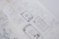 Closeup shot of UI/UX draft sheet drawings in a copybook royalty free illustration