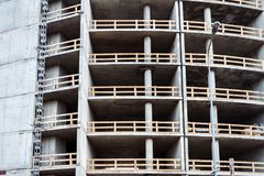 Closeup shot of unfinished apartment building wall. At a construction site Stock Photo
