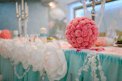 Closeup shot of the wedding decoration elements. In the evening Royalty Free Stock Photography