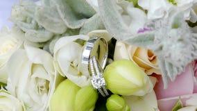 Shot of wedding or engagement rings. Closeup shot of wedding or engagement rings stock footage