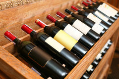 Closeup shot of wineshelf Royalty Free Stock Images