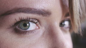 Closeup shot of woman eye with day makeup. stock video footage