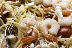 Closeup of Shrimp and Pasta Stock Photo