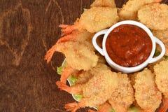 Closeup shrimp with seafood sauce Royalty Free Stock Photo