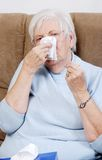 Closeup sick senior woman Royalty Free Stock Photos