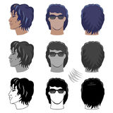 Men`s hairstyles set for curly hair Royalty Free Stock Photo