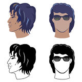 Men`s hairstyles set for curly hair Royalty Free Stock Images