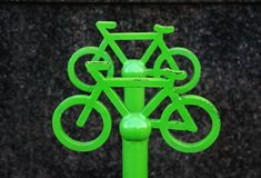 Sign of bicycle parking. Closeup sign of bicycle parking in old city, front view Royalty Free Stock Images