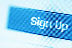 Closeup of Sign Up button on a LCD screen Royalty Free Stock Photography