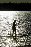 Closeup of a silhouetted man paddle boarding on a Saskatchewan lake.  Royalty Free Stock Image