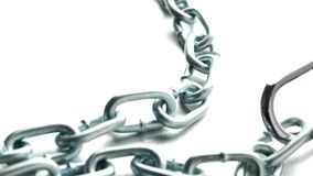 Closeup on silver chain. On metal finish background stock footage