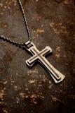 Closeup of silver Christian cross Royalty Free Stock Image