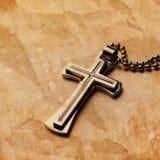 Closeup of silver Christian cross Stock Photos