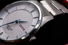 Closeup silver fashion wrist  watch Royalty Free Stock Photo