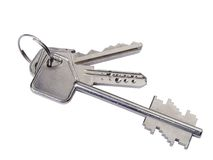Closeup of silver keys Royalty Free Stock Photos