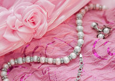 Closeup of silver pearl jewellery Royalty Free Stock Photos