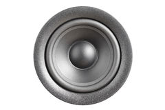 Closeup of silvery bass speaker Stock Image