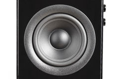 Closeup of silvery bass speaker Royalty Free Stock Image