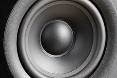 Closeup of silvery bass speaker Royalty Free Stock Photo