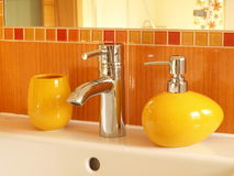 Closeup of sink and tap Royalty Free Stock Images