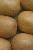 Closeup of six kiwifruits. Closeup of kiwis lying on a table Stock Photo