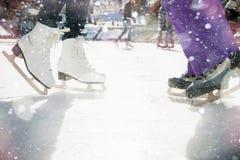 Closeup skating shoes ice skating outdoor at ice rink Royalty Free Stock Image