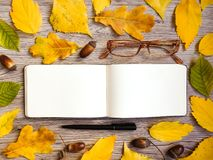 Closeup of sketchbook, glasses and pen, decorated with autumn yellow leaves and acorns. Top view, flat lay Royalty Free Stock Photo