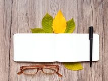 Closeup of sketchbook, glasses and pen, decorated with autumn yellow leaves and branches. Top view, flat lay Stock Photos