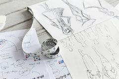 Closeup of sketched cloth designs royalty free stock images