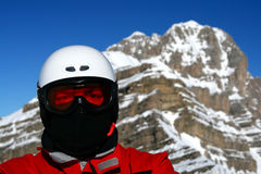 Closeup of Skier. Or Snowboarder with Helmet Royalty Free Stock Photos