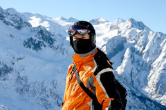 Closeup of Skier. Or Snowboarder with Helmet Stock Images
