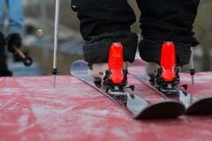 Closeup of skiing equipment. Skier getting ready to go, close up Royalty Free Stock Photo