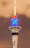 Closeup Sky tower under twilight sky background in Auckland, New Royalty Free Stock Photography