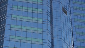 Closeup skyscraper glass windows,business buildings district,global commerce. stock footage