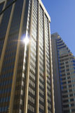 Closeup of skyscrapers against blue sky. As a symbol of success Royalty Free Stock Image