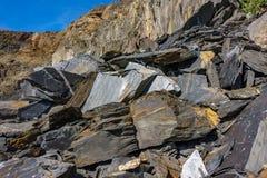 Slate mine garbaje rocks. Closeup of slate mine garbaje rocks Stock Photos