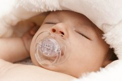 Closeup sleeping adorable baby face Stock Images