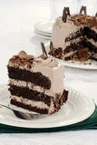 Closeup slice of chocolate cake with flakes Stock Images