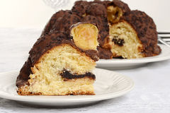 Closeup slice italian chocolate Panettone Stock Photos